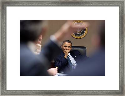 President Barack Obama Laughs Framed Print