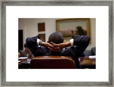 President Barack Obama Leans Back Framed Print by Everett