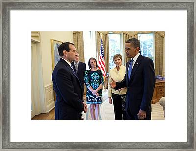 President Barack Obama Meets With Duke Framed Print by Everett
