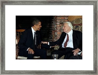 President Barack Obama Meets With Rev Framed Print by Everett