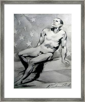 President Barack Obama Nude Study Framed Print by Karine Percheron-Daniels