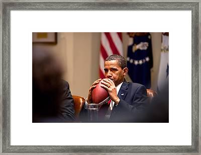 President Barack Obama Pensively Holds Framed Print