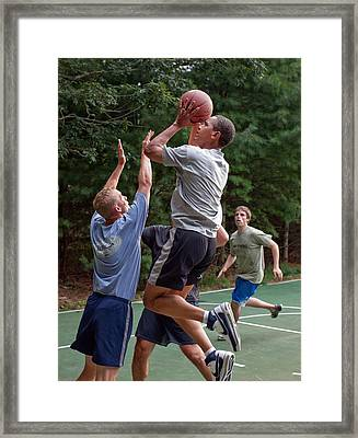 President Barack Obama Plays Basketball Framed Print