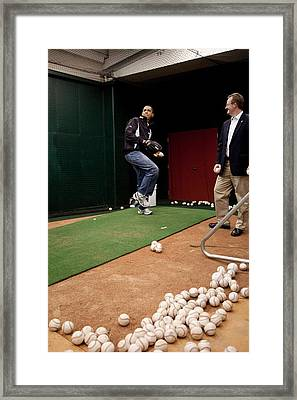 President Barack Obama Practices Framed Print by Everett