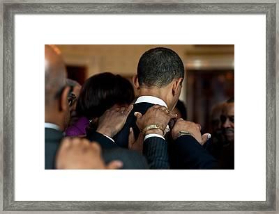 President Barack Obama Prays Framed Print by Everett