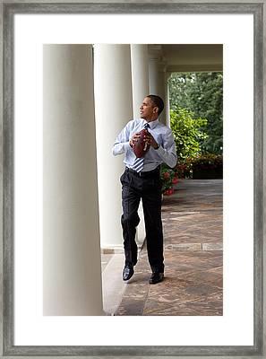 President Barack Obama Prepares Framed Print by Everett