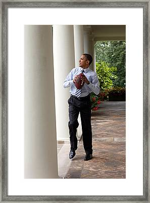 President Barack Obama Prepares Framed Print