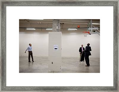 President Barack Obama Shoots Baskets Framed Print