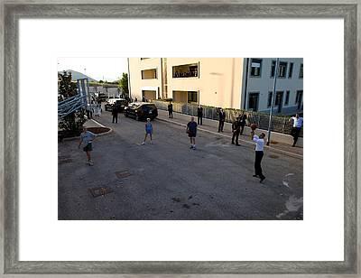 President Barack Obama Shoots Hoops Framed Print
