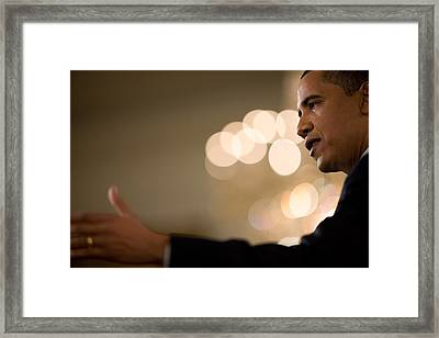 President Barack Obama Speaks Framed Print
