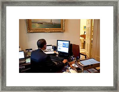 President Barack Obama Tests The New Framed Print by Everett