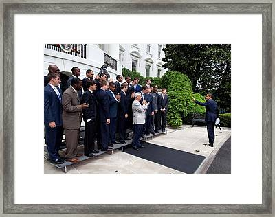 President Barack Obama Waves To Coach Framed Print by Everett
