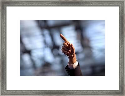 President Barack Obamas Gestures While Framed Print by Everett