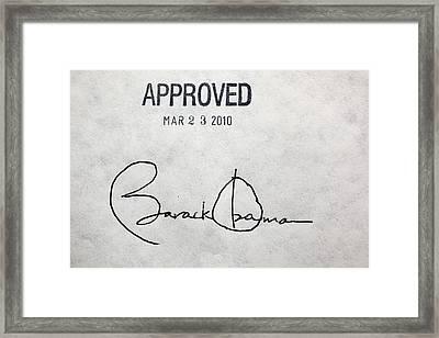 President Barack Obamas Signature Framed Print