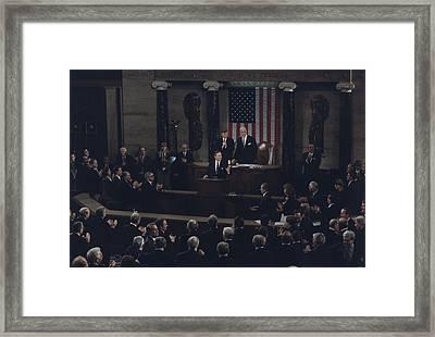 President Bush Addresses A Joint Framed Print