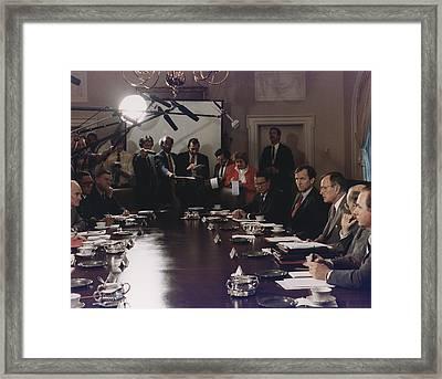 President Bush Participates In A Full Framed Print by Everett