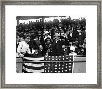 President Calvin Coolidge Pitches Framed Print by Everett