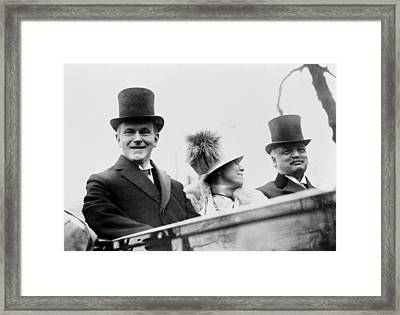 President Calvin Coolidge With His Wife And Senator Curtis On The Way To Capitol - C 1925 Framed Print by International  Images