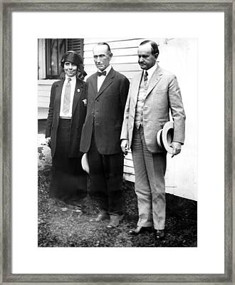 President Calvin Coolidge, With Wife Framed Print by Everett