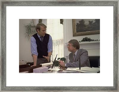 President Carter And His Press Framed Print