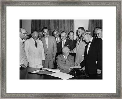 President Eisenhower Signs A Bill Framed Print by Everett