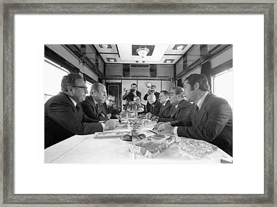 President Ford And Henry Kissinger Meet Framed Print by Everett