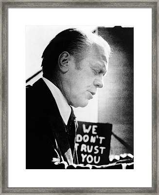 President Ford Encounters An Unfriendly Framed Print by Everett