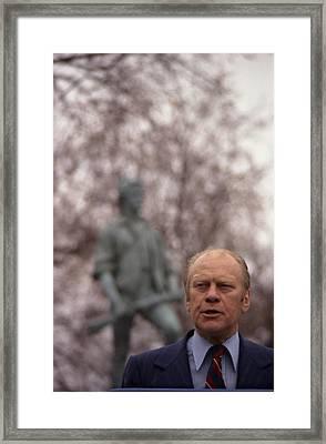 President Ford Speaks On The 200th Framed Print by Everett