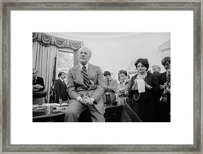 President Ford Talks With Reporters Framed Print