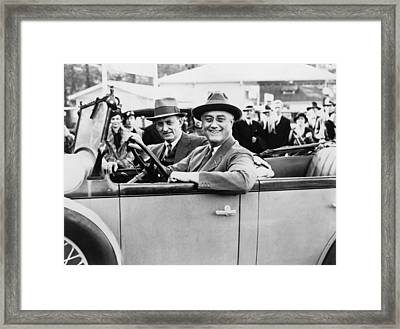 President Franklin D. Roosevelt Driving Framed Print by Everett