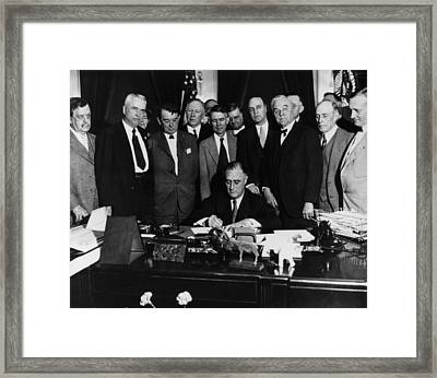 President Franklin D. Roosevelt Seated Framed Print by Everett