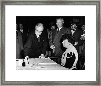President Franklin D. Roosevelt, Signs Framed Print