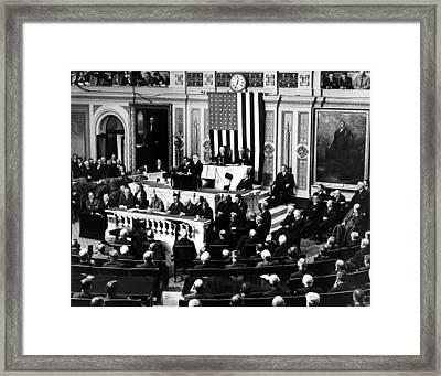 President Franklin Roosevelt Delivering Framed Print by Everett