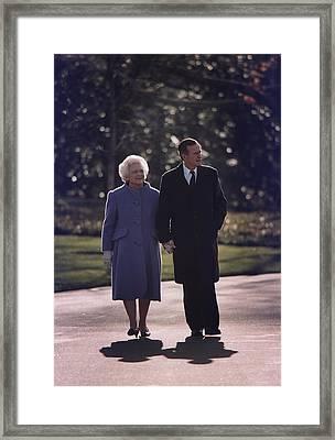 President George And Barbara Bush Take Framed Print