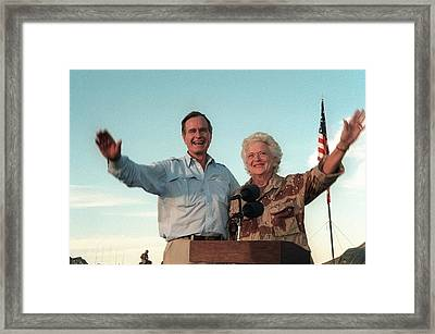 President George Bush And Barbara Bush Framed Print by Everett