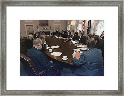 President George Bush Conducts A Full Framed Print by Everett