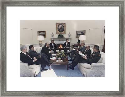 President George Bush Meeting With Key Framed Print