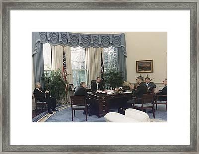 President George Bush Meets With Keys Framed Print