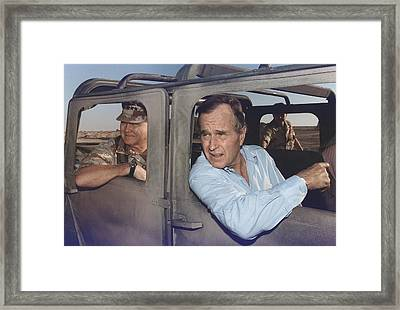 President George Bush Riding In An Framed Print by Everett