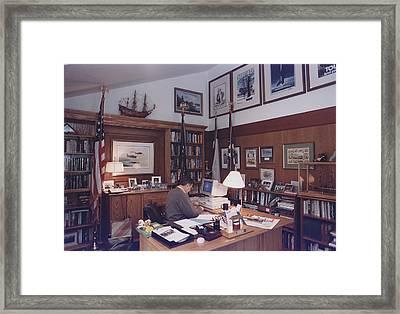 President George Bush Works Framed Print