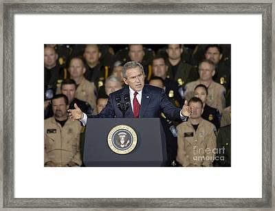 President George W. Bush Speaks Framed Print by Stocktrek Images
