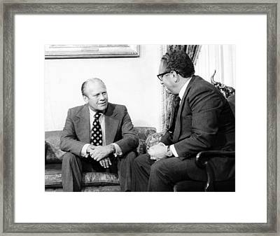 President Gerald Ford And Secretary Framed Print by Everett