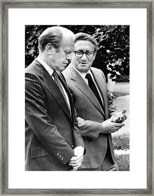 President Gerald Ford Listens Framed Print by Everett
