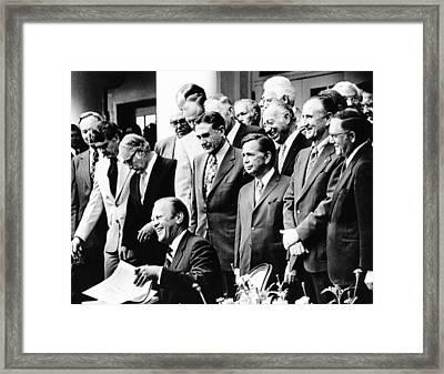 President Gerald Ford Prepares Signing Framed Print