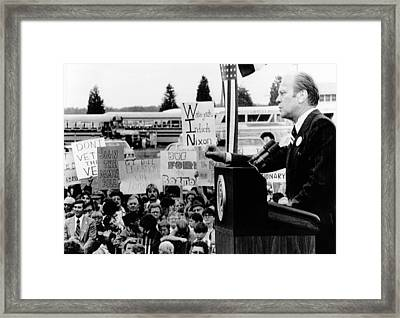 President Gerald Ford Speaks To A Crowd Framed Print by Everett