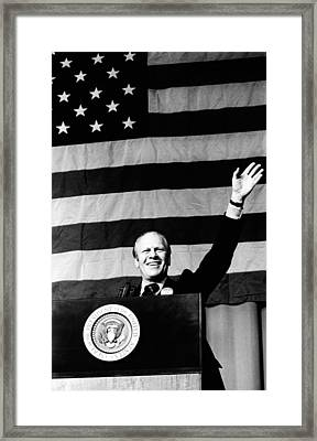 President Gerald Ford Waves In Front Framed Print by Everett