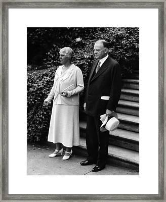 President Herbert Hoover And First Framed Print by Everett