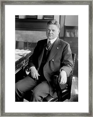 President Herbert Hoover Sitting At Desk Framed Print