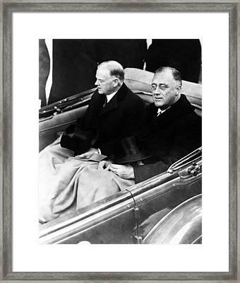 President Hoover And President Elect Franklin Delano Roosevelt - C 1933 Framed Print