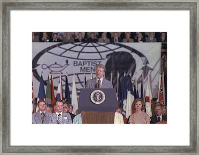 President Jimmy Carter Addresses Framed Print by Everett